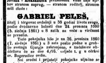 Vijest o smrti Gabriela Peleša, objavljena u Narodnim novinama 1861.