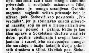 Vijest o smrti trgovca Stevana Štekovića, objavljena 1934. u petrinjskom Banovcu